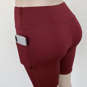 Sexy Yoga  shorts with pockets (red wine color)